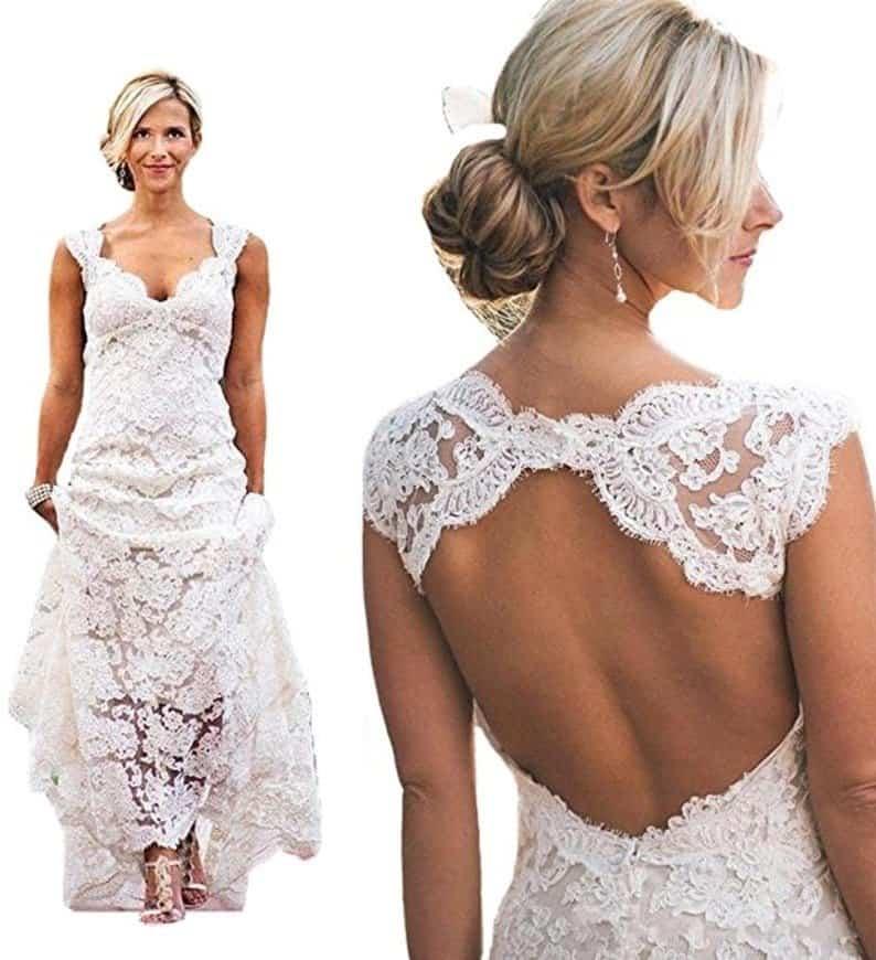 Queenbridal Vintage 2016 Lace Beach Wedding Dresses Keyhole Back Custom Bridal Gown