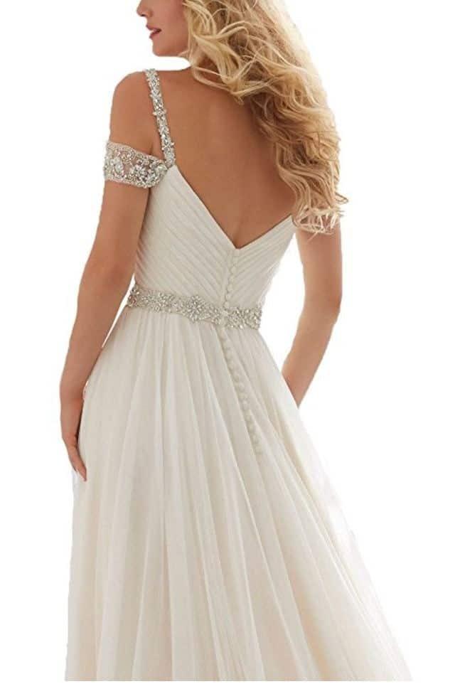 TBGirl Romantic A-line Straps Beading Long Soft Tulle Beach Wedding Dresses