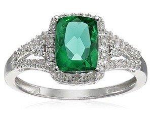 cushion simulated emerald with white diamonds