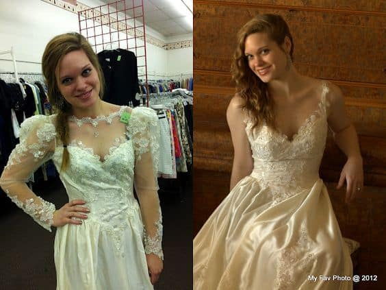 get rid of wedding dress poofiness