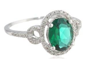 sterling silver oval shaped created gemstone