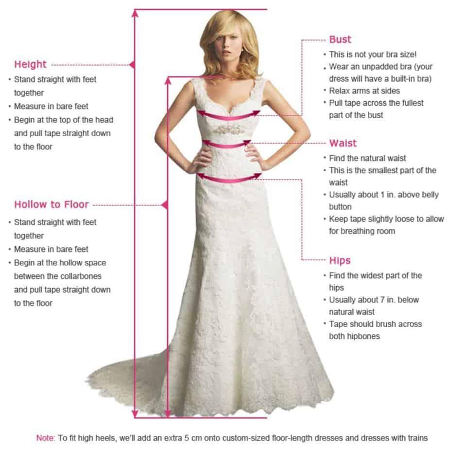 wedding dress custom measurements