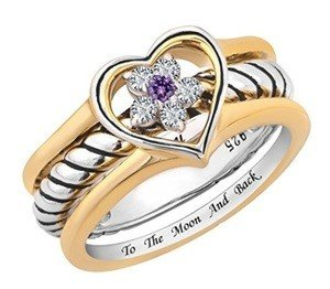 sterling silver and flower heart promise ring