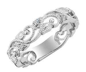 vintage diamond filigree promise ring