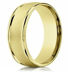 yellow gold sandblasted band