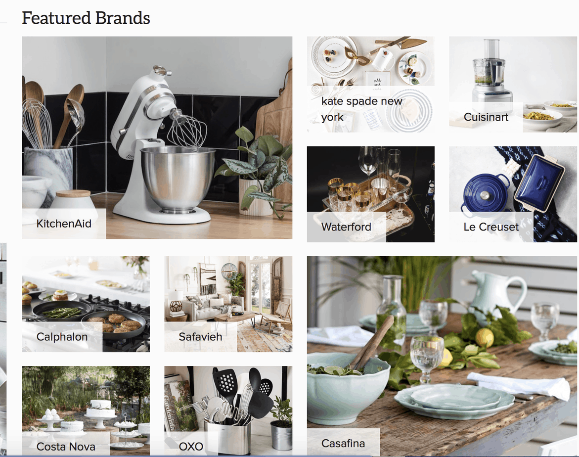 Zola's featured brands