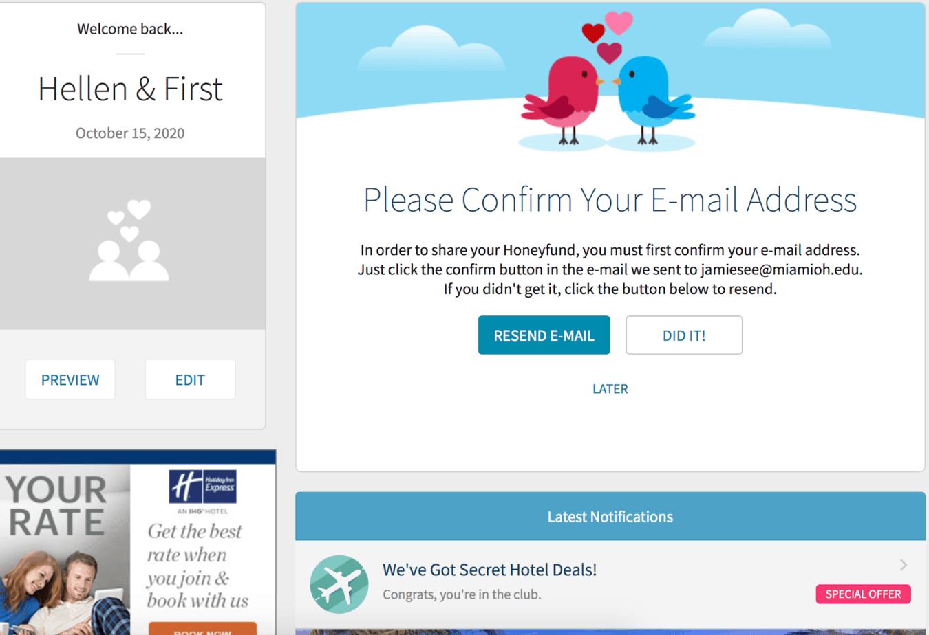 confirm email address for honeyfund