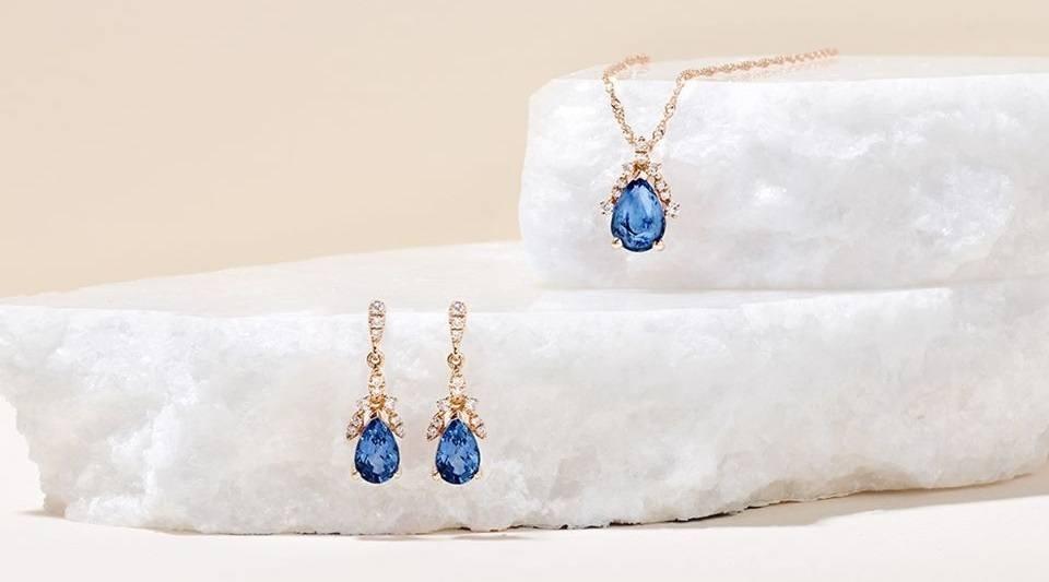 beautiful jewelry set with blue precious stones