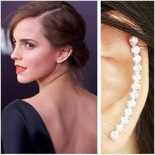 Beady Silver Crystal Earcuff Earring