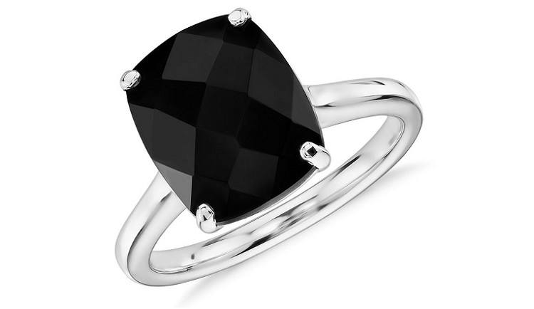 Black Onyx Cushion Cocktail Ring
