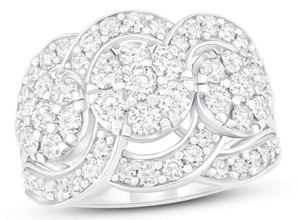 Diamond Ring 2 ct TW Round-cut 10K White Gold