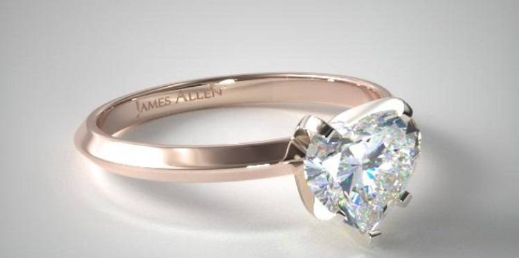 James Allen Heart Shaped Knife Edge Ring