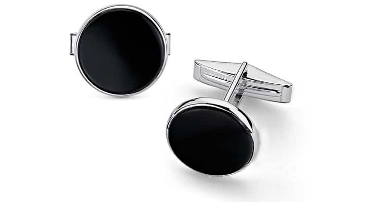 Round Onyx Cufflinks in Sterling Silver