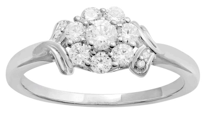 0K White Gold Diamond Flower Engagement Ring