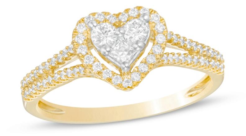 Composite Diamond Heart Frame Ring in 10K Gold
