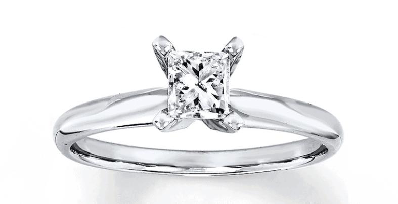 Diamond Solitaire Ring Princess-cut 14K White Gold