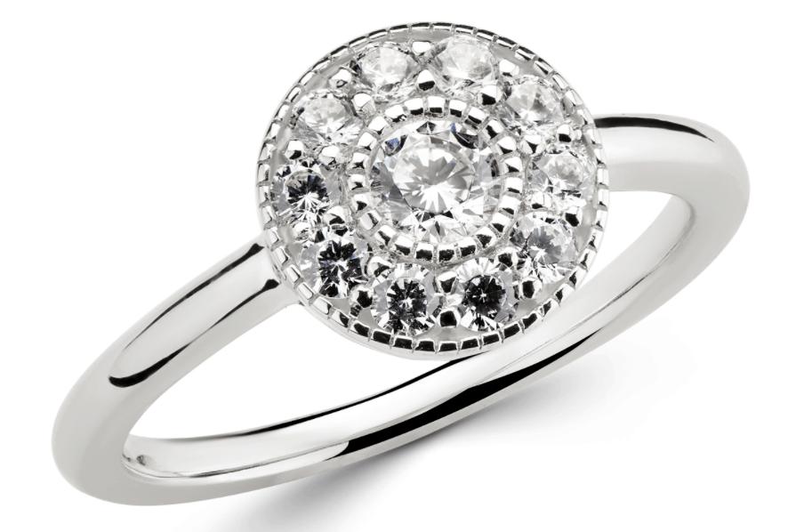 White Gold Milgrain Halo Ring