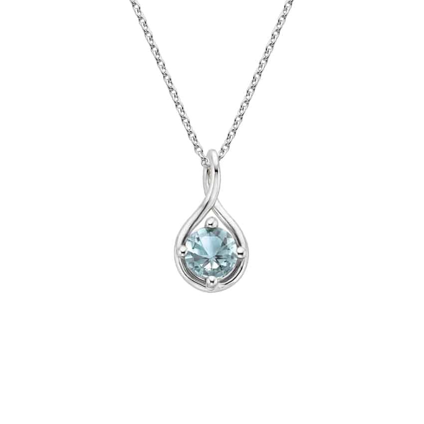 Silver Aquamarine Twist Necklace | Brilliant Earth